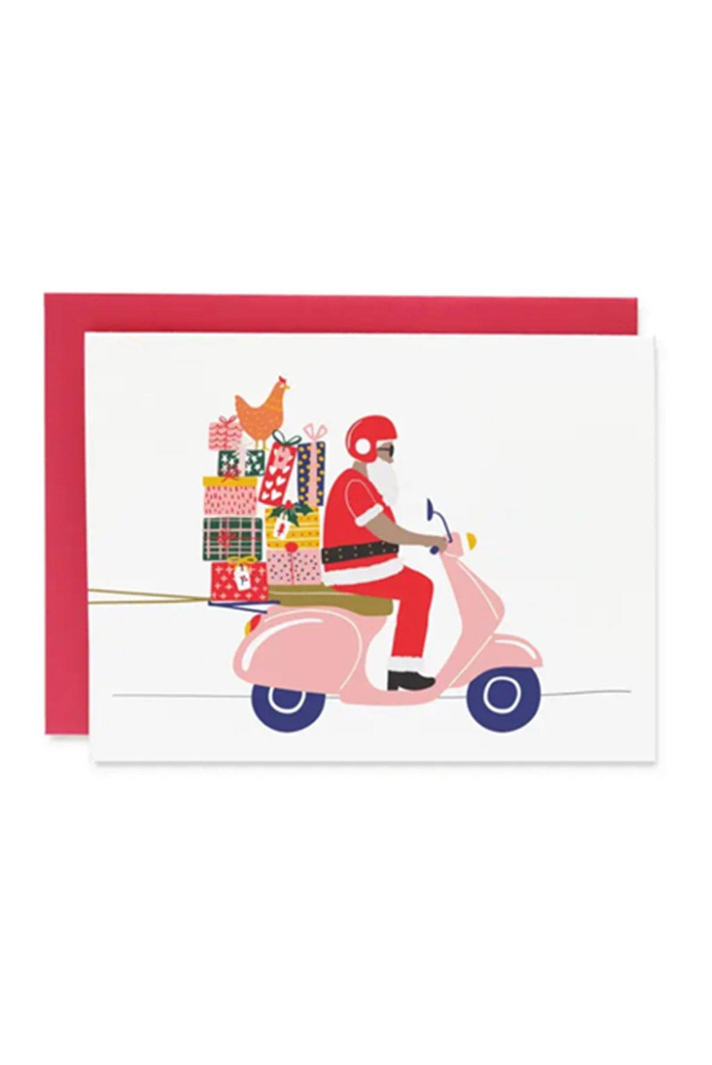 Santa on Vespa Card