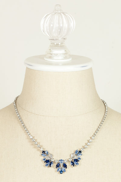 Vintage Blue Rhinestone Leaf Necklace