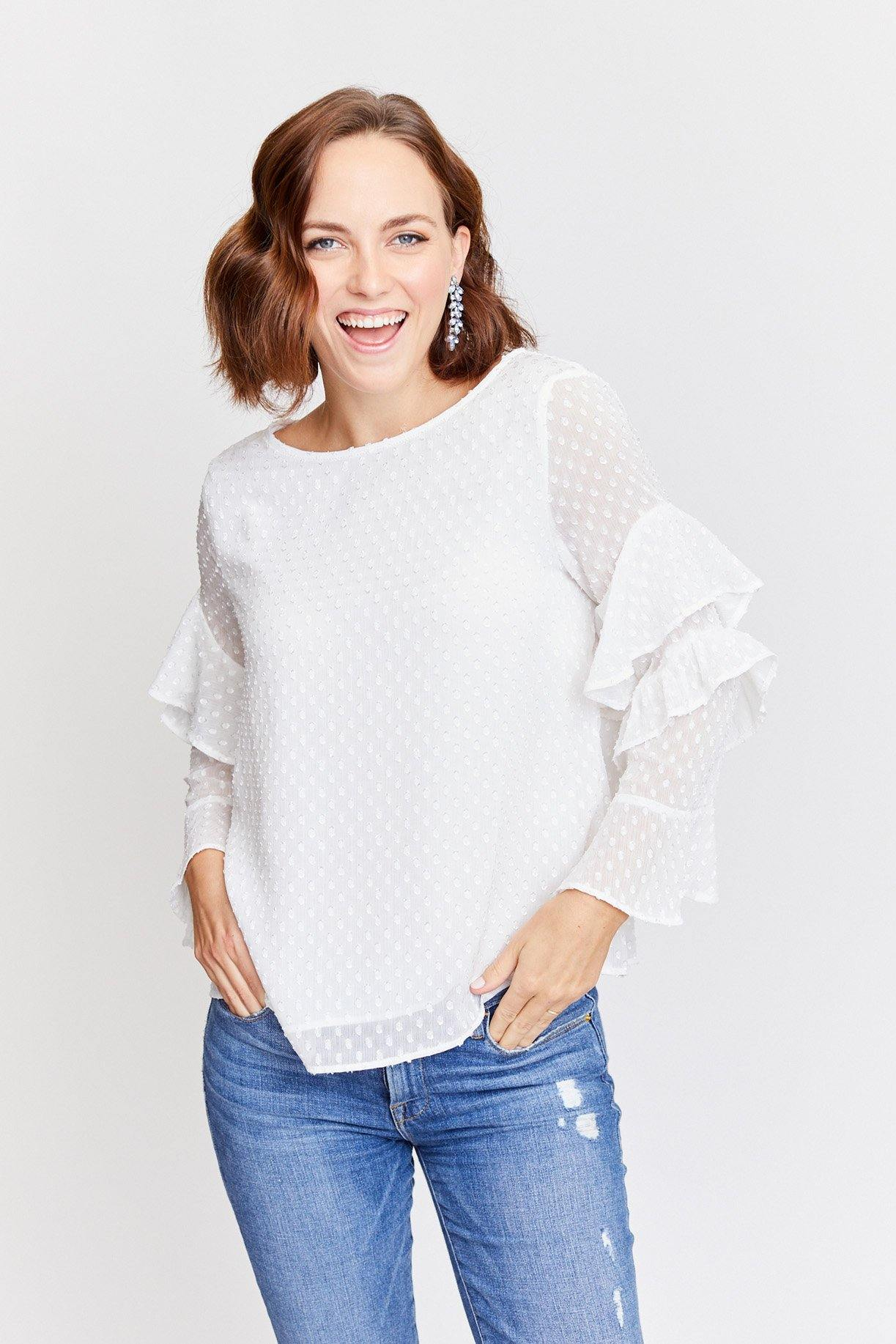 Sanctuary Bianca white ruffle top from Sweet & Spark.