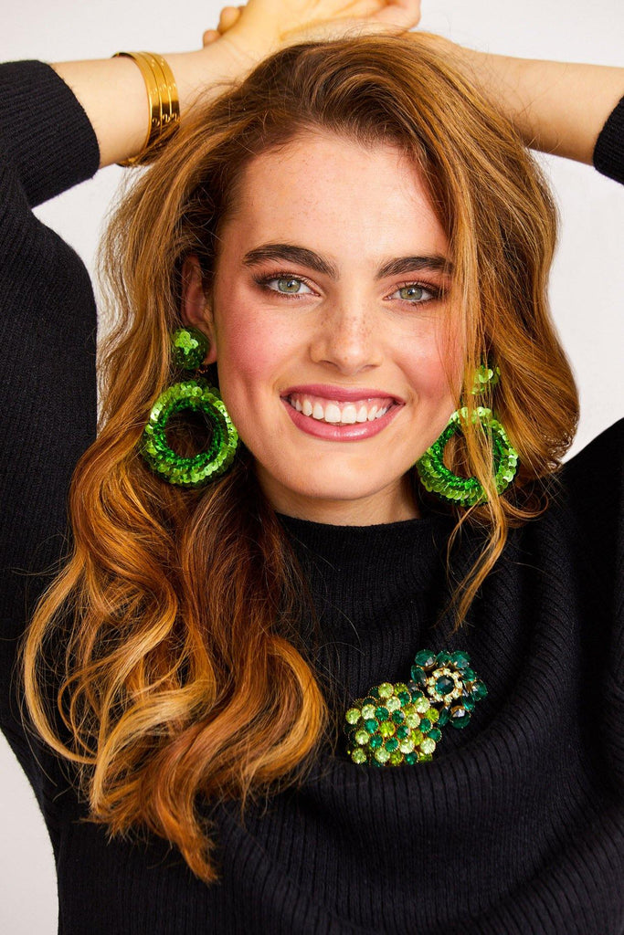 Green Sequin Statement Hoop Clip-on Earrings