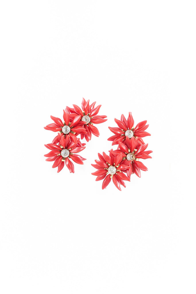 50's__Vintage__Red Flower Statement Cuff Earrings