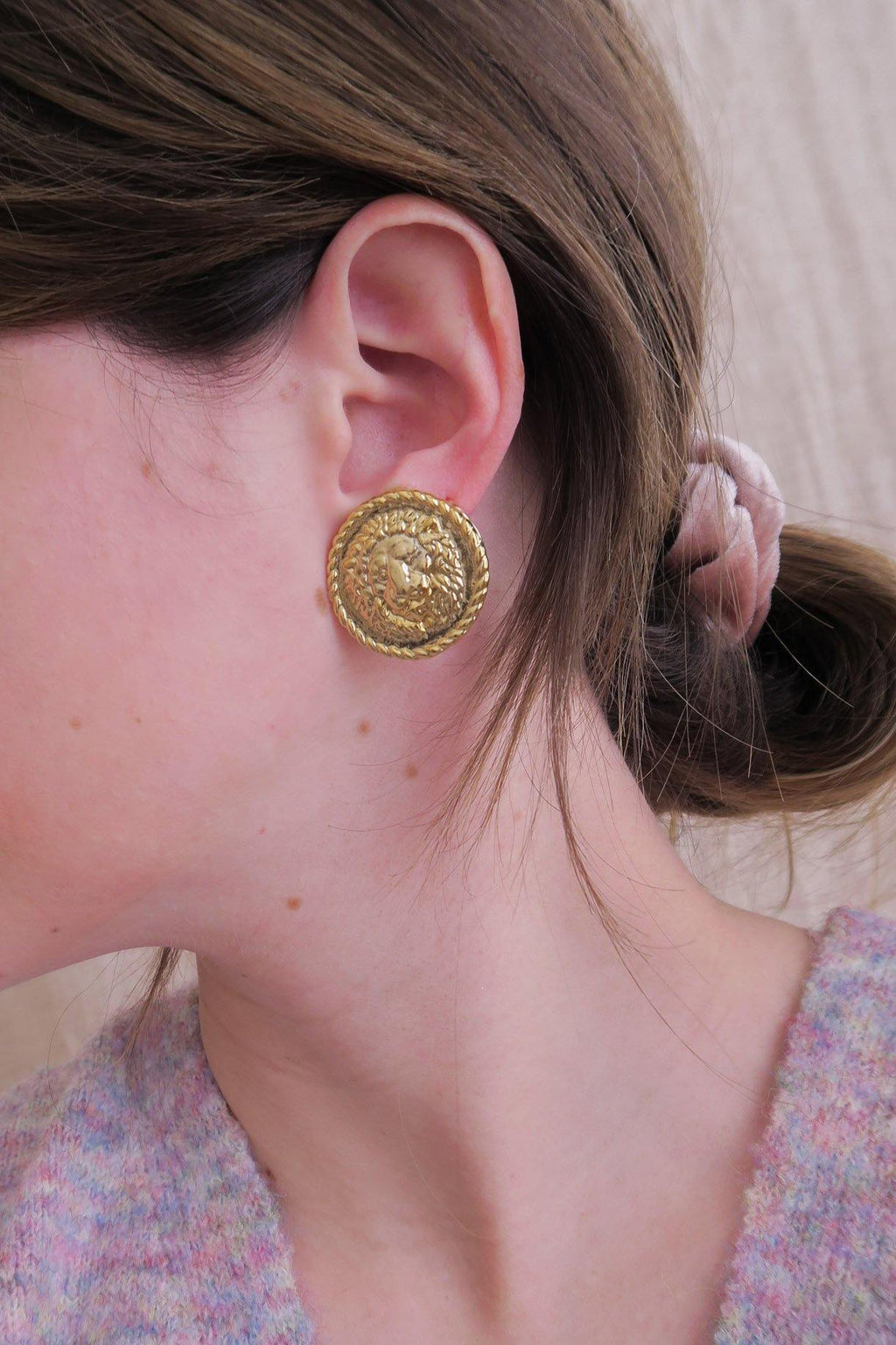 Versace Lionhead Coin Clip-on Earrings