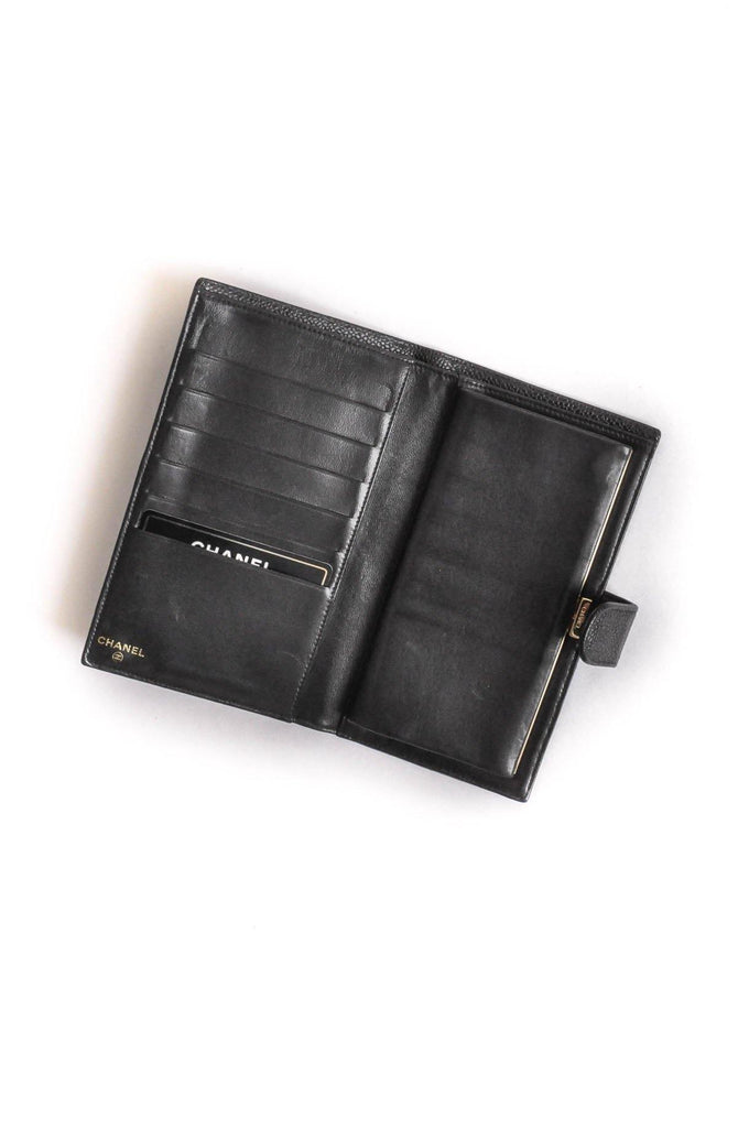Chanel CC Black Caviar Folding Wallet