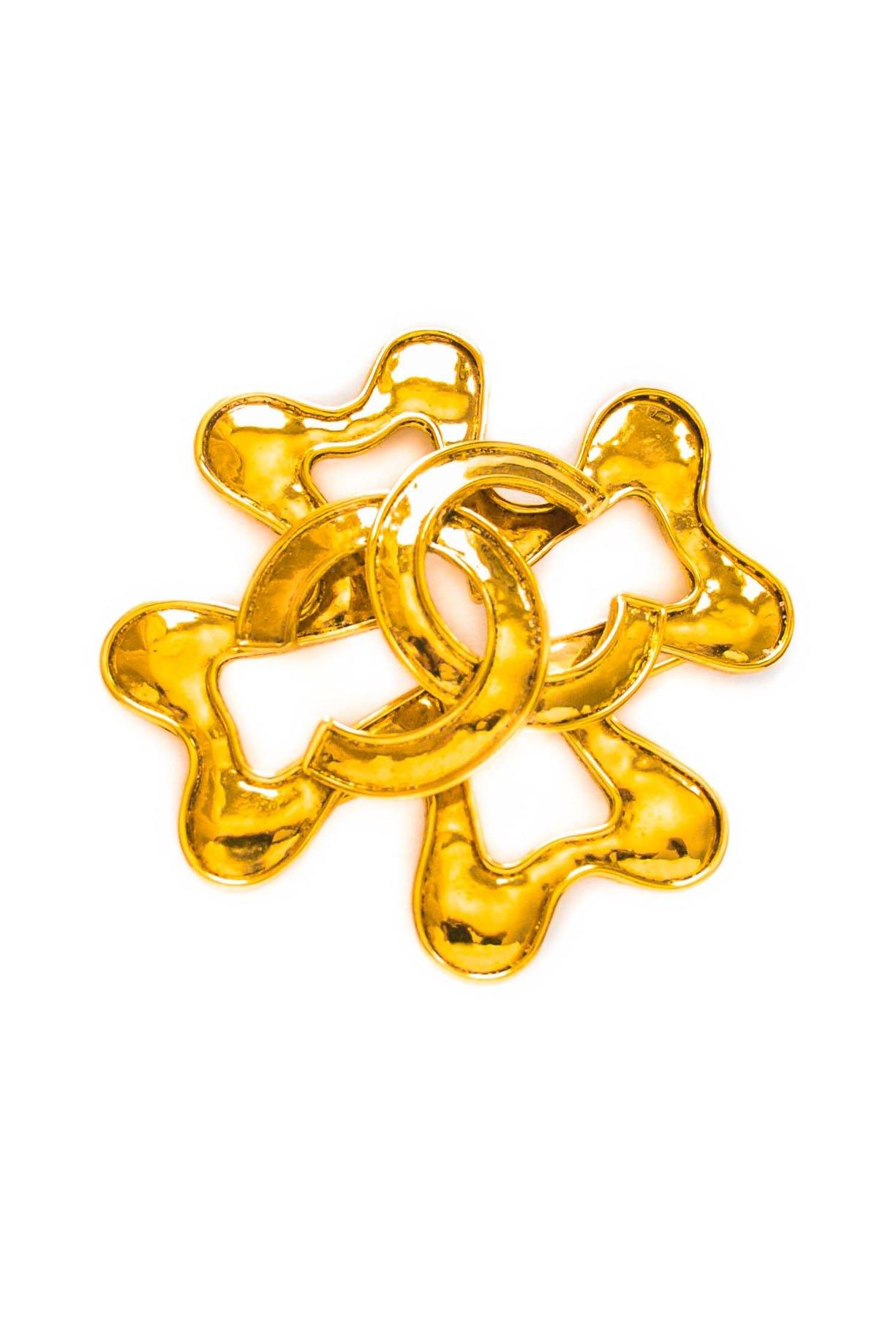 Vintage Chanel CC Jumbo Clover Brooch from Sweet and Spark