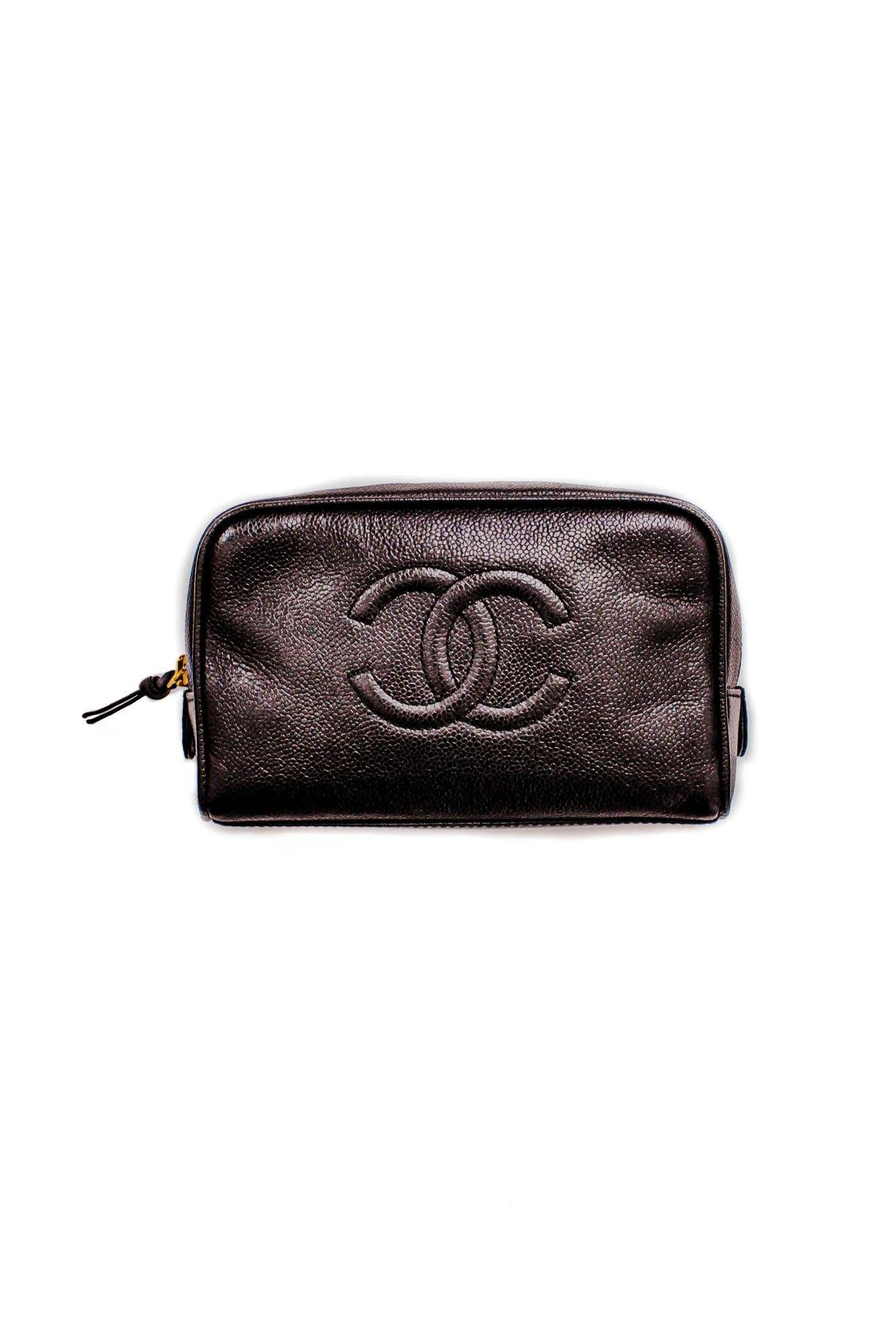 Vintage Chanel CC Black Caviar Leather Pouch from Sweet and Spark