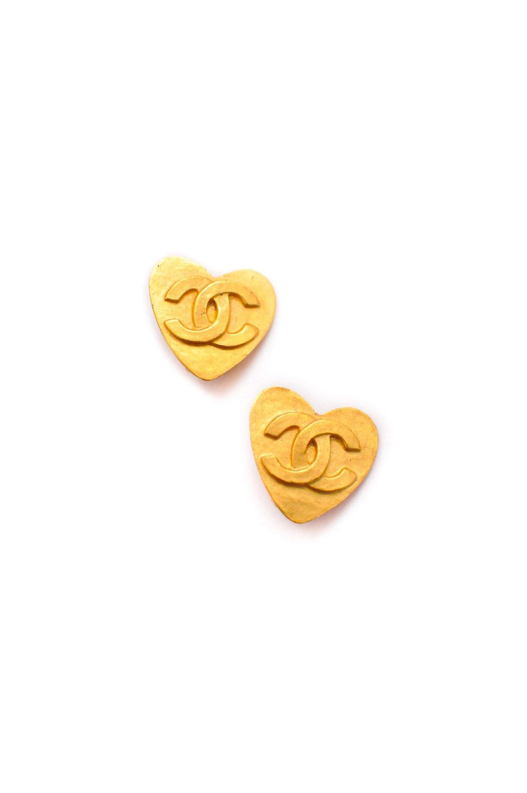 Chanel CC Heart Clip on Earrings