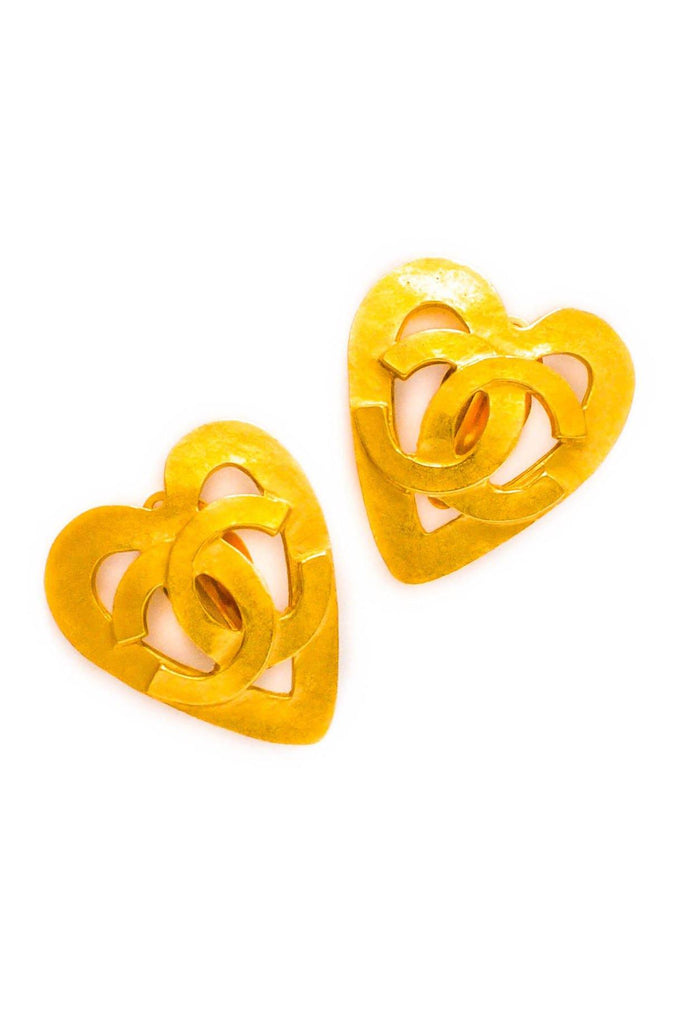 Chanel CC Heart Matte Clip-on Earrings