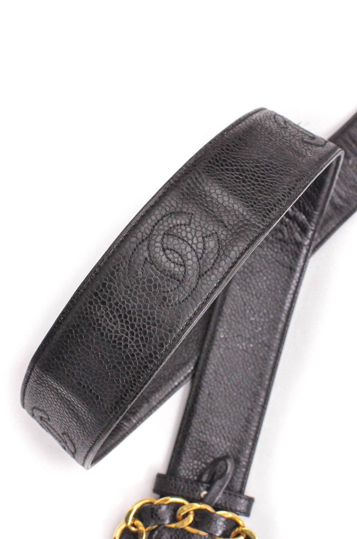 Vintage Chanel CC Black Caviar Belt from Sweet and Spark