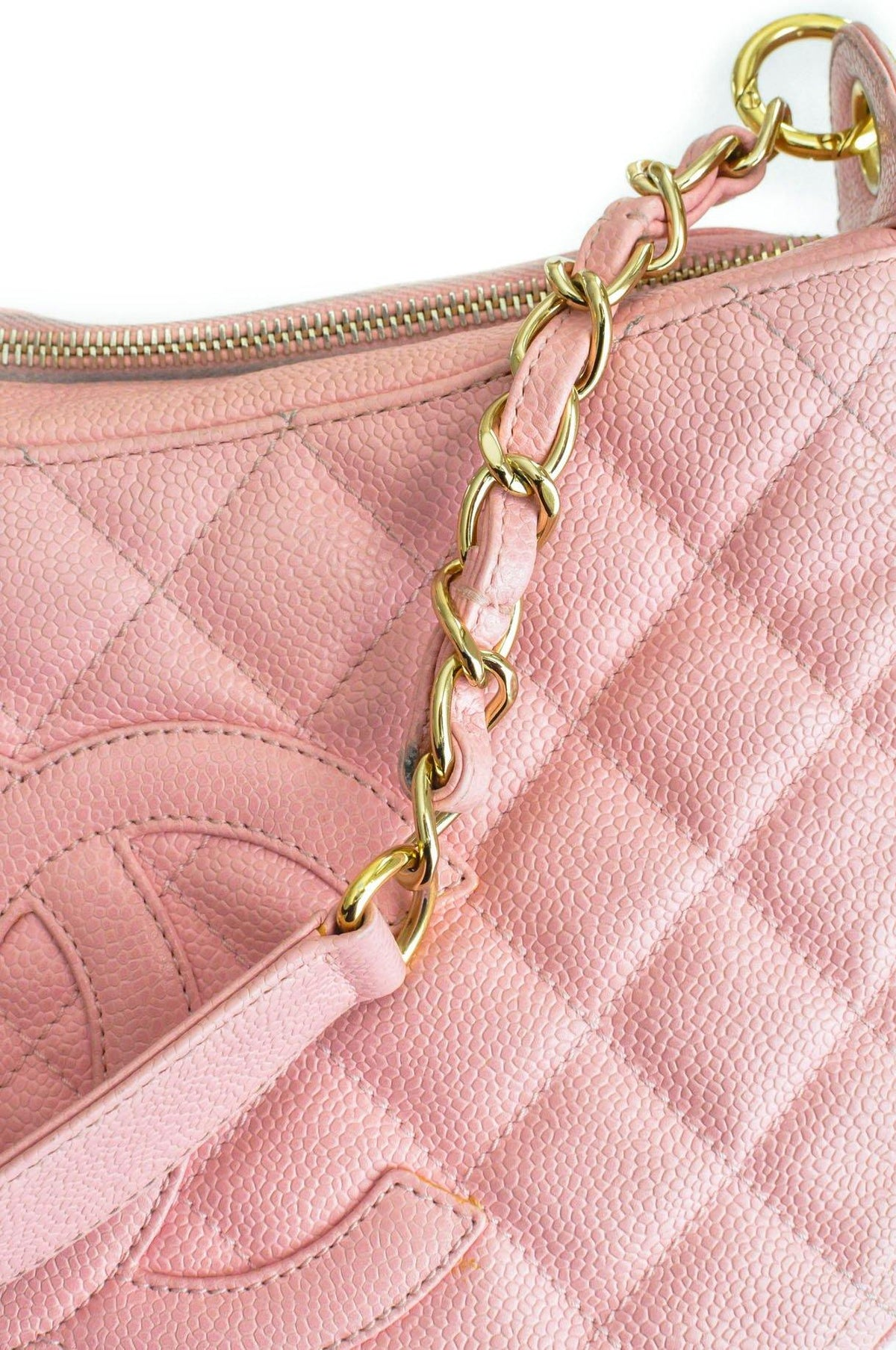 Vintage Chanel CC Pink Caviar Shoulder Bag from Sweet and Spark.