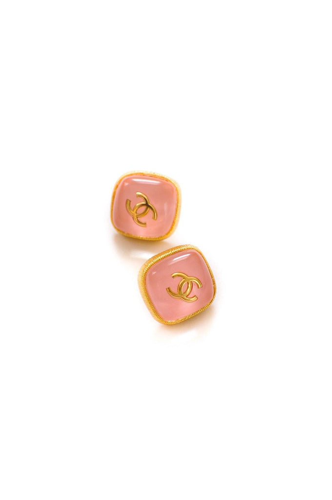Chanel CC Pink Resin Pierced Earrings