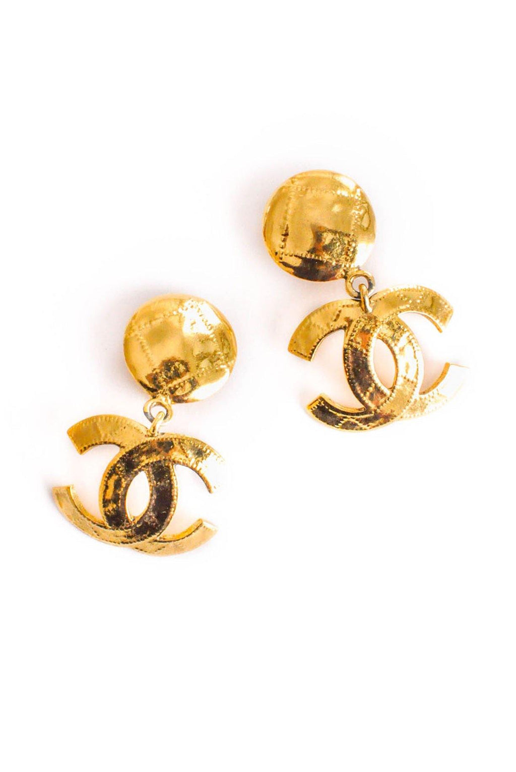 Chanel CC Quilted Drop Clip-on Earrings