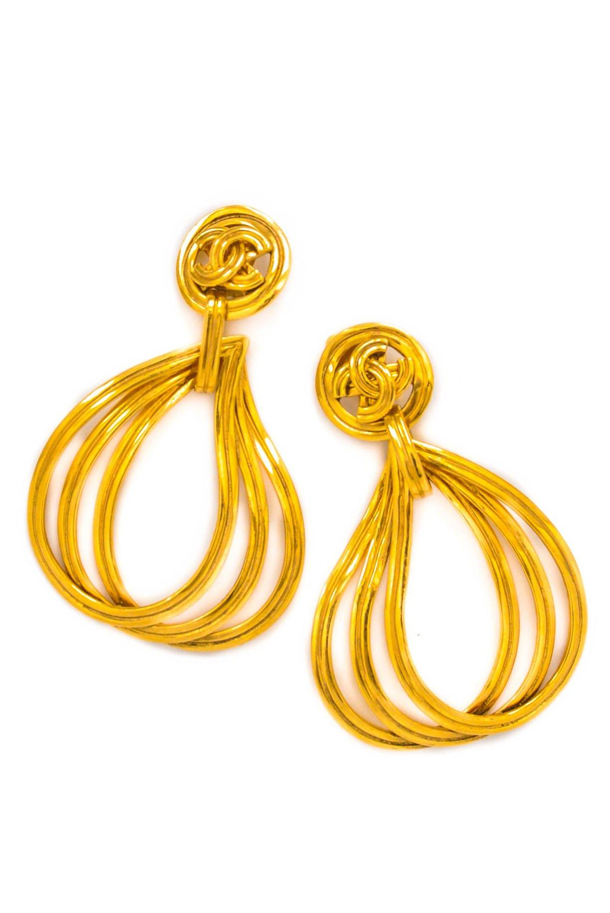 Vintage Chanel CC Teardrop Hoop Earrings from Sweet and Spark