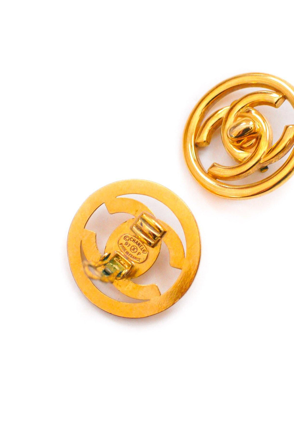 Chanel CC Turnlock Clip on Earrings