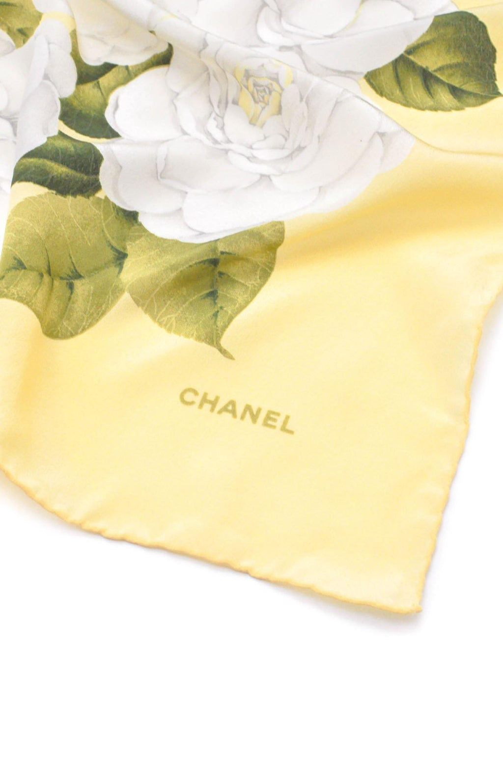 Chanel Pale Yellow Camellia Scarf