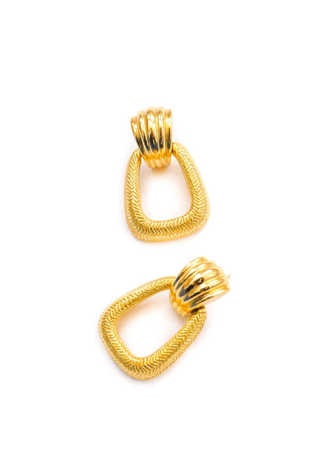 Christian Dior Textured Drop Hoop Pierced Earrings - Sweet & Spark