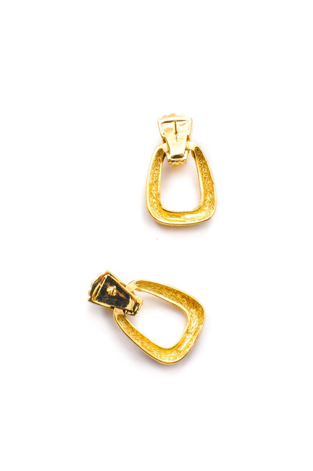 Christian Dior Textured Drop Hoop Pierced Earrings