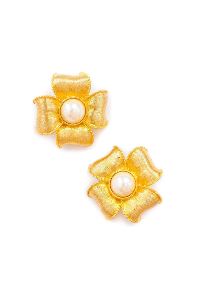 Givenchy Floral Pearl Clip-on Earrings