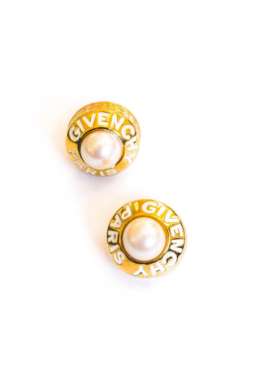 Givenchy Pearl Enamel Logo Clip-on Earrings