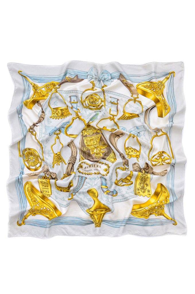 Hermès Blue and Gold Etriers Scarf