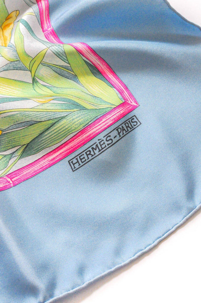 Hermès Blue and Pink Giverny Scarf