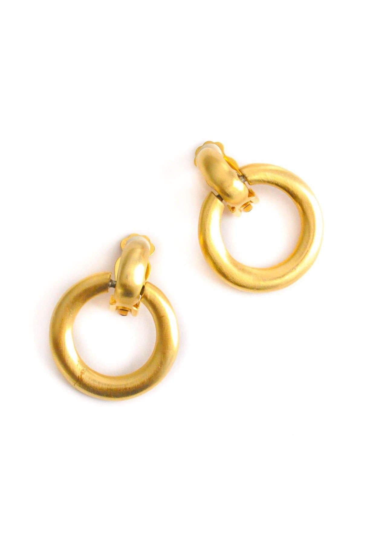 Vintage Kenneth Jay Lane Matte Clip on Hoop Earrings from Sweet and Spark