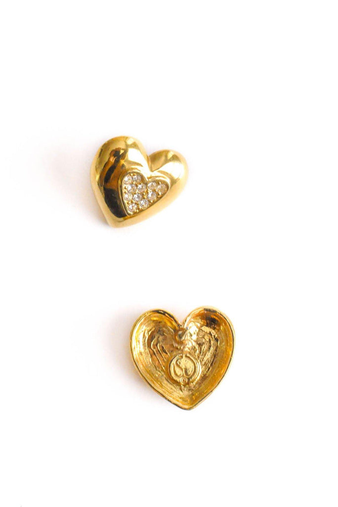 St. John Rhinestone Heart Pierced Earrings