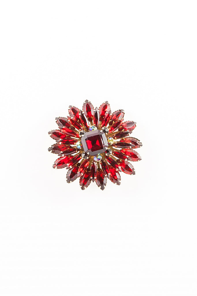 60's__Vintage__Red Rhinestone Flower Burst Brooch