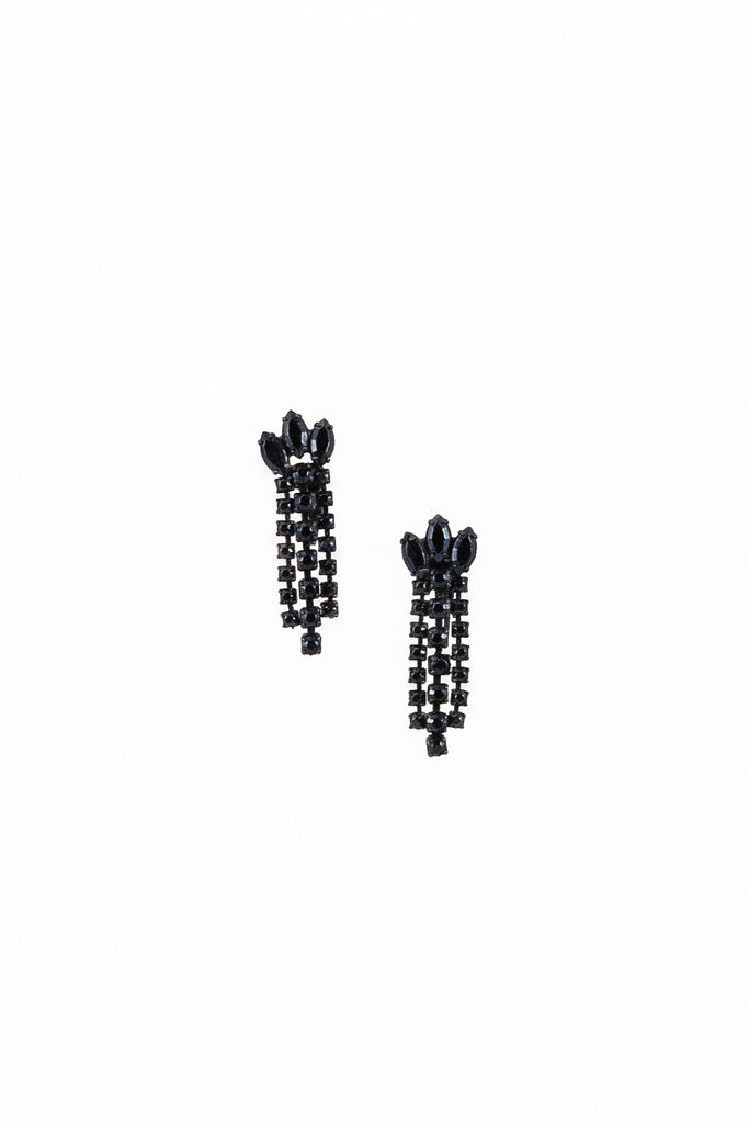 50's__Vintage__Black Rhinestone Fringe Earrings