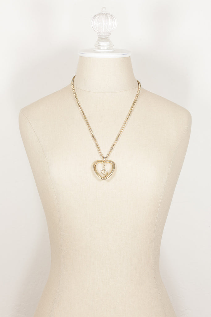 80's__Vintage Avon__Heart Pendant Necklace
