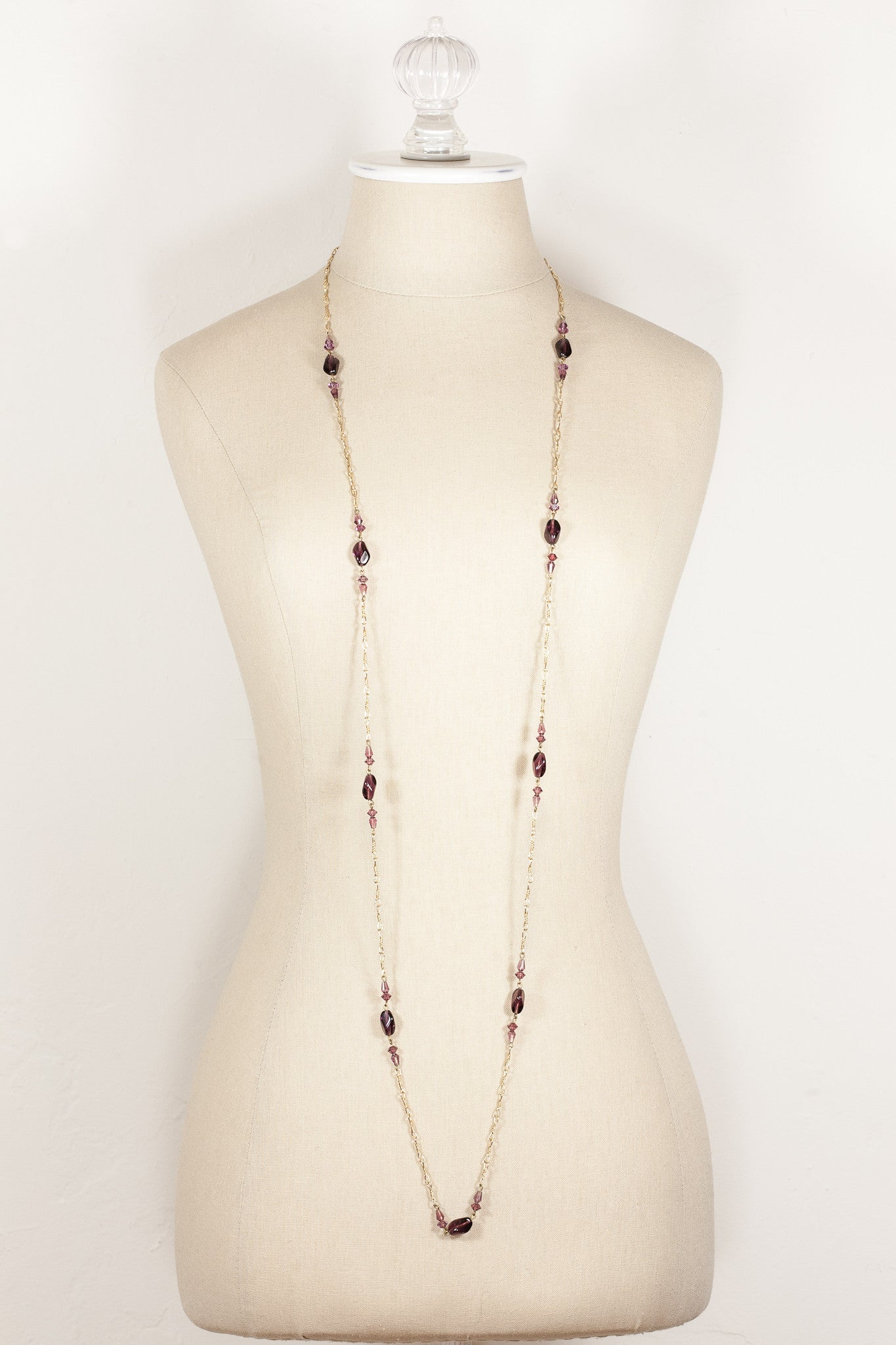 80's__Vintage__Purple Beaded Chain Link Necklace
