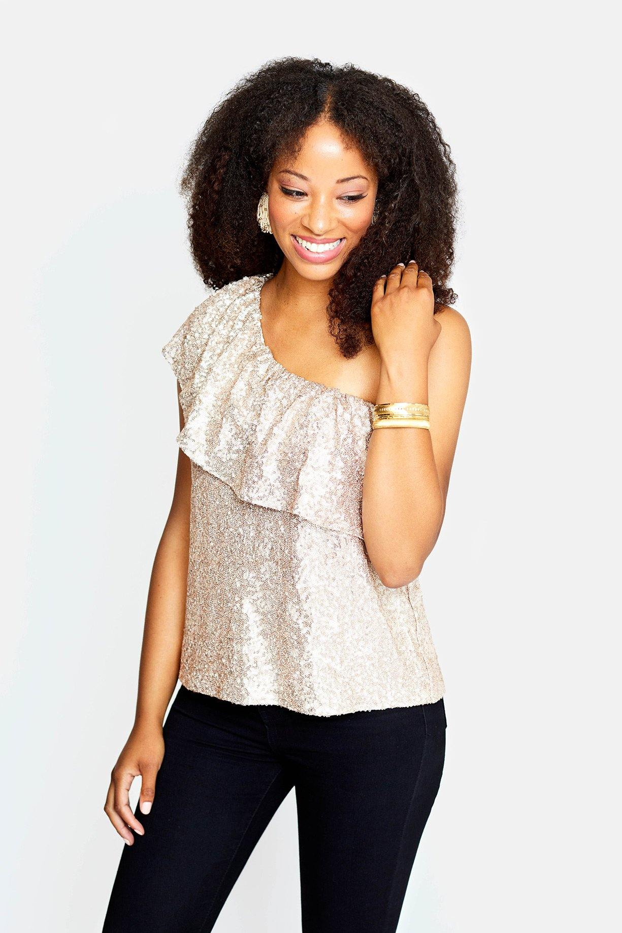 Clair One Shoulder Sequin Top