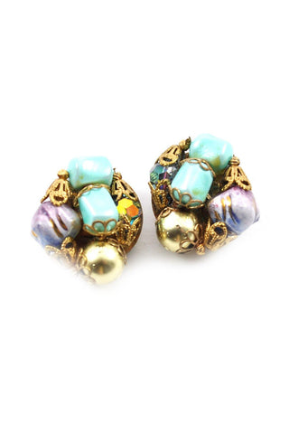 50s__Vintage__Beaded Clip-On Earrings