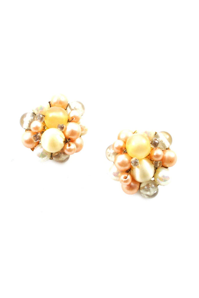 60s__Vintage__Beaded Clip-On Earrings