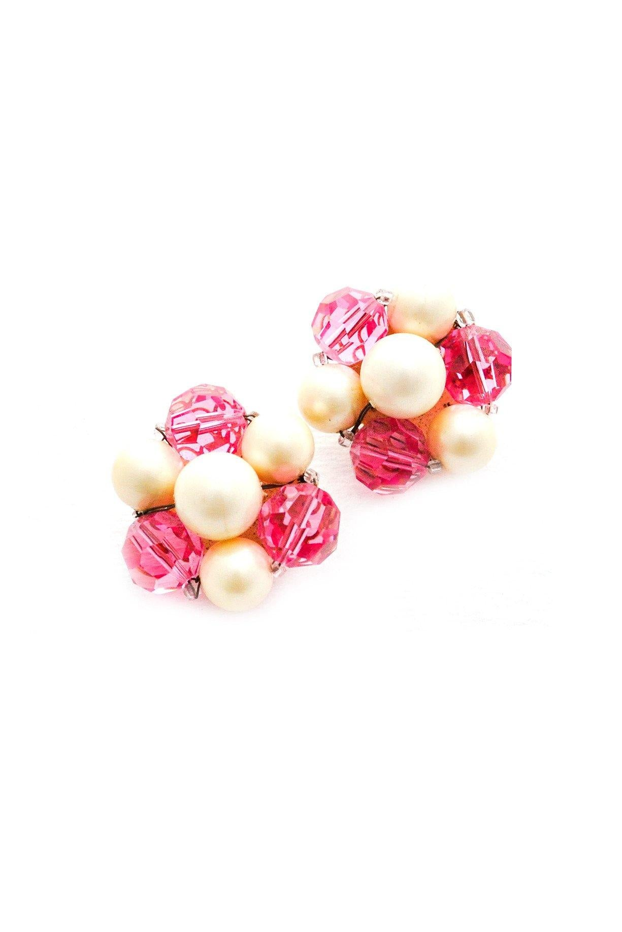 1950s Chunky Pink & Pearl Vintage Earrings from Sweet & Spark