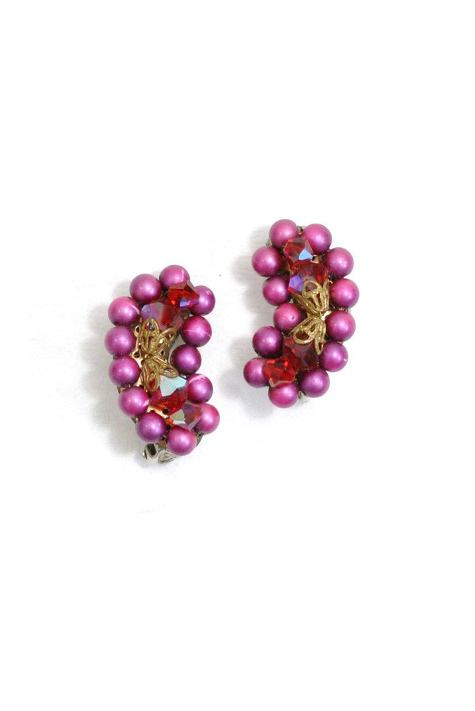 50's__Vintage__Beaded Crawler Clip-On Earrings