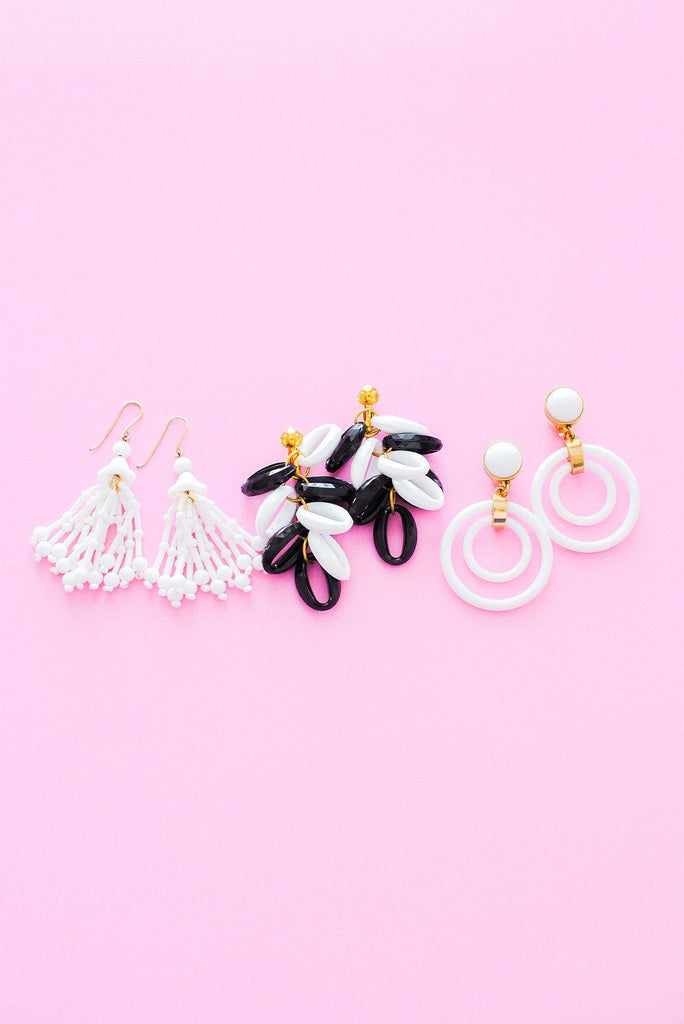 Black and White Drop Clip-on Earrings