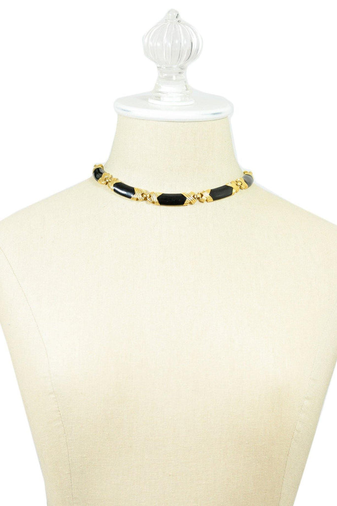 80's__Monet__Black Link Choker Necklace