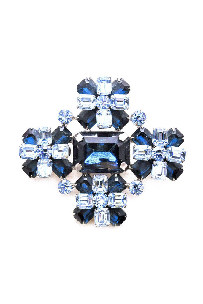 Blue Rhinestone Statement Brooch