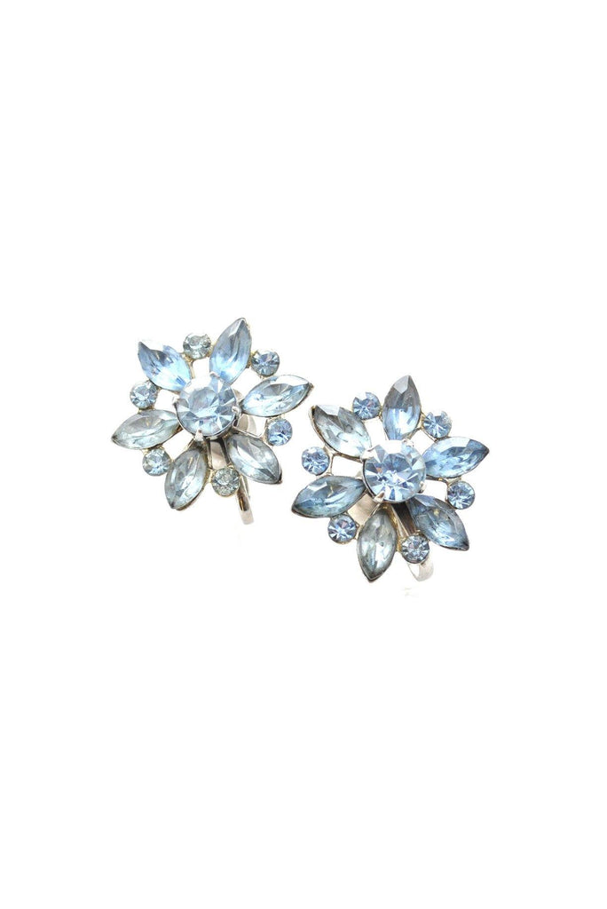 50s__Coro__Floral Rhinestone Clip-On Earrings