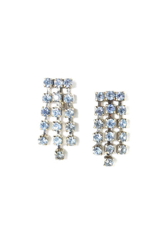 Blue Rhinestone Fringe Clip-on Earrings