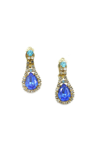 60s__Vintage__Statement Rhinestone Drop Clip-On Earrings