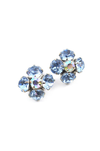 60s__Vintage__Blue Rhinestone Clip-On Earrings