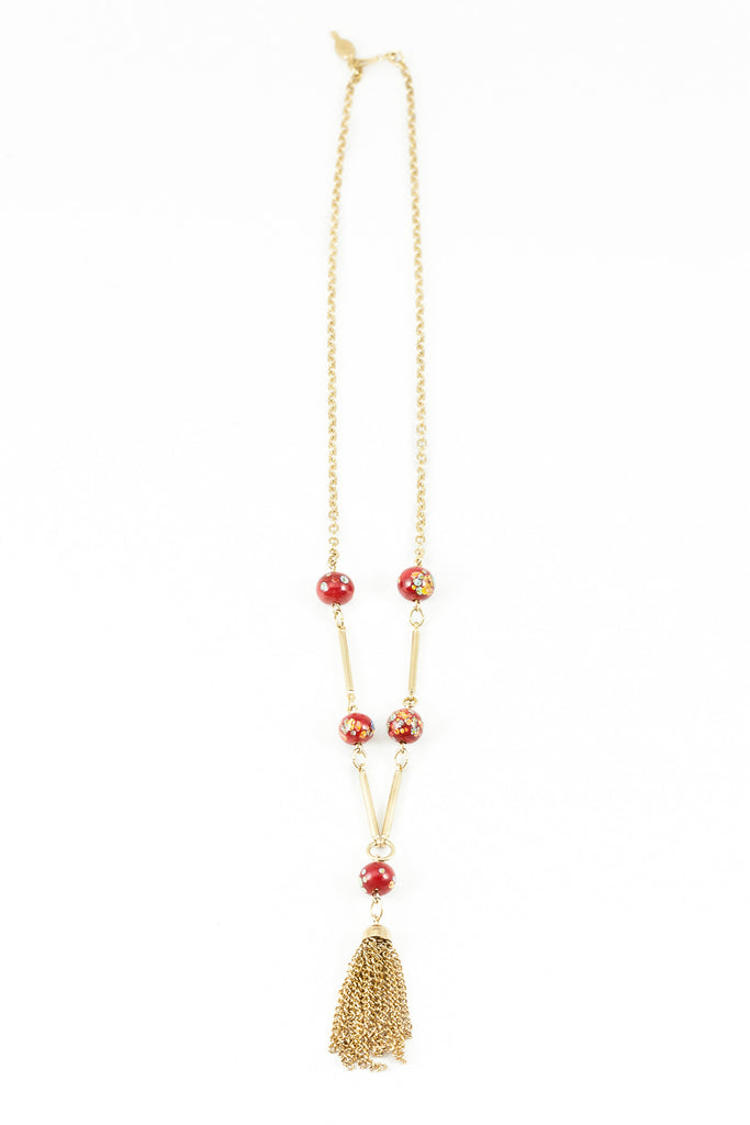 70's__Sarah Coventry__Red Tassel Necklace