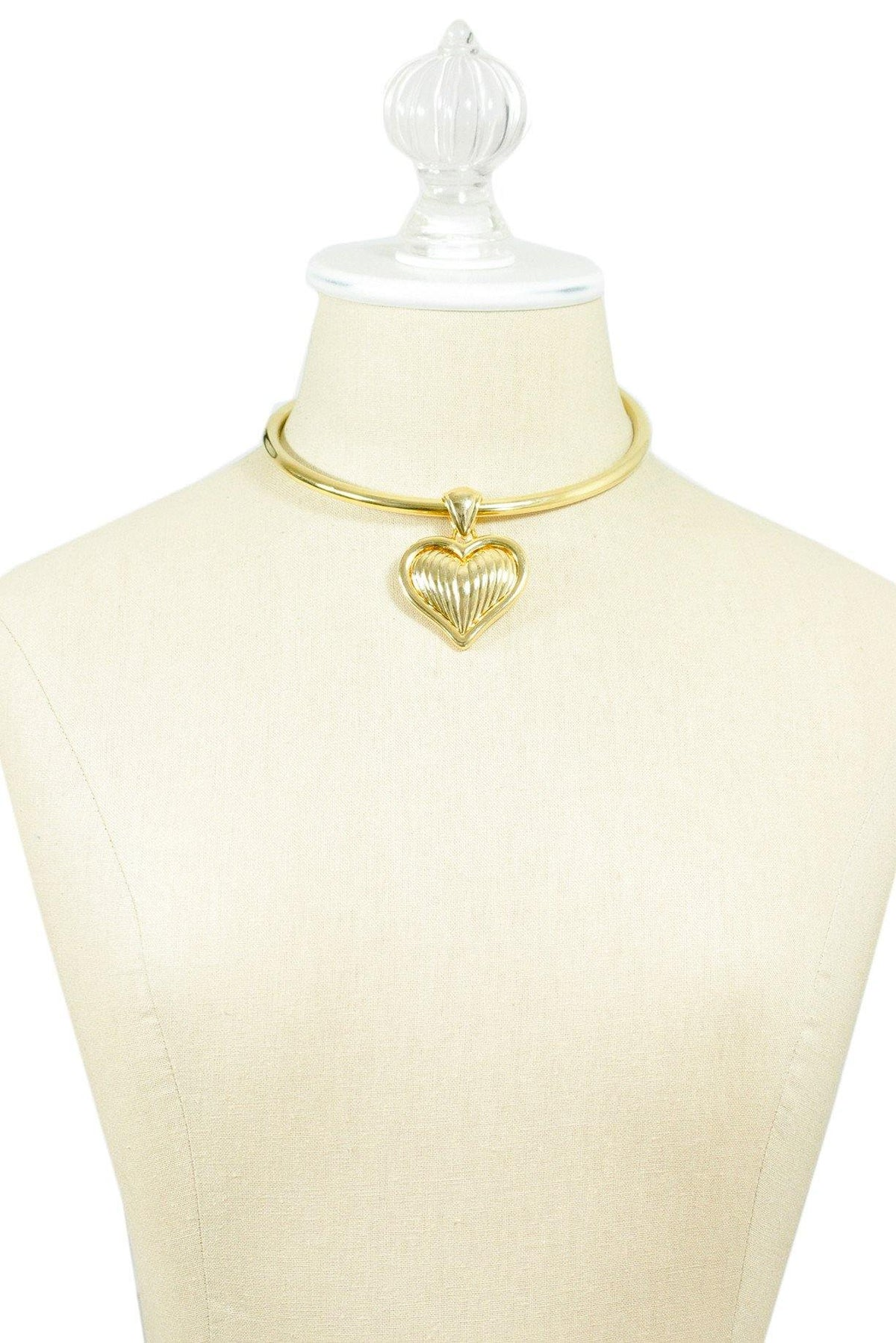 80's Vintage Chunky Heart Choker Necklace