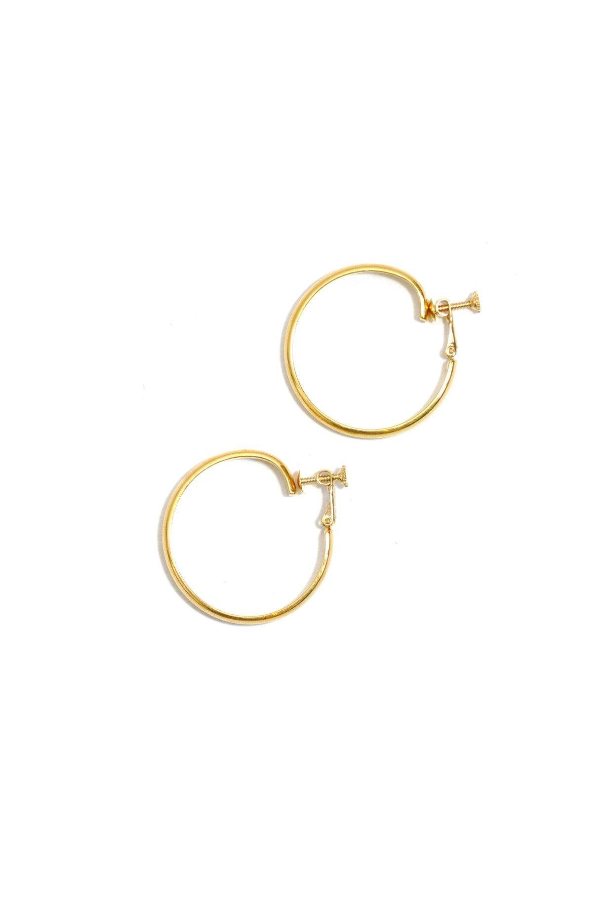 70's__Napier__Gold Hoop Clip-On Earrings