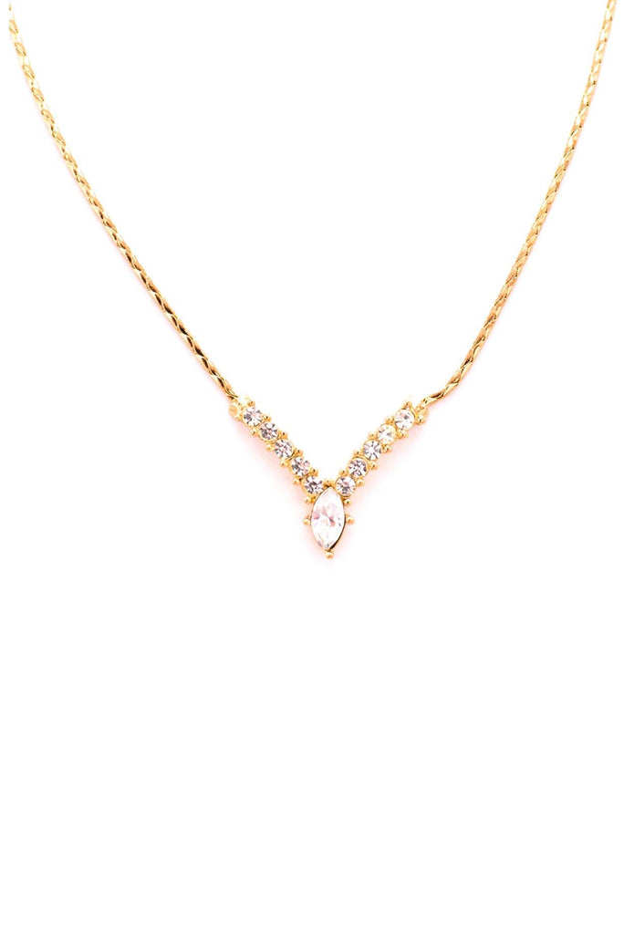 Christian Dior Rhinestone V Necklace