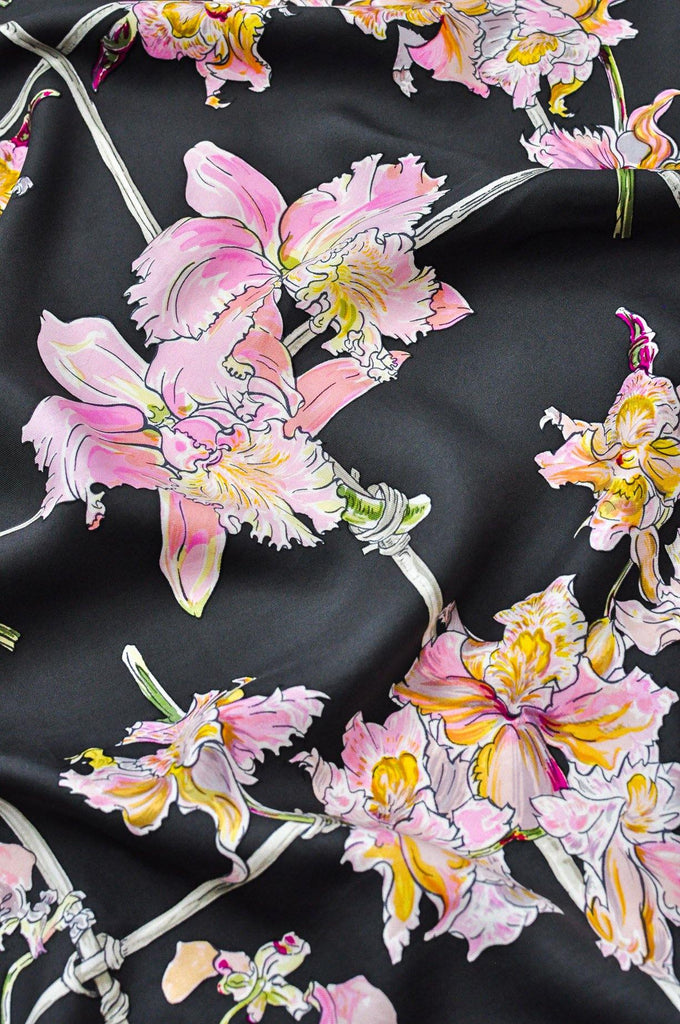 Hermés Grey & Pink Orchids Square Scarf