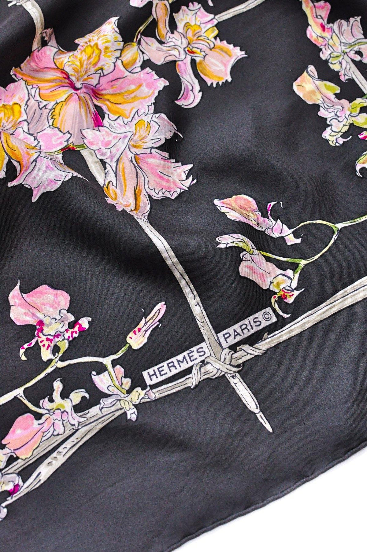 Vintage Hermés Grey & Pink Orchids Square Scarf from Sweet & Spark