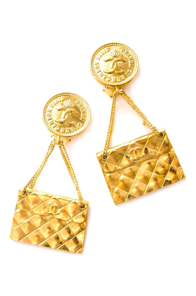Chanel Quilted Purse Statement Clip-on Earrings