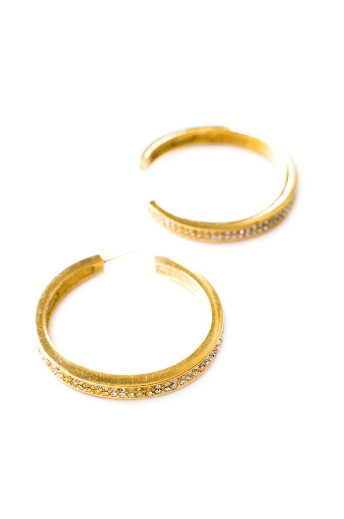 Christian Dior Rhinestone Hoop Pierced Earrings